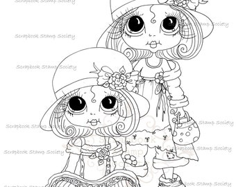 INSTANT DOWNLOAD Digital Digi Stamps Big Eyed Derby hat girls Besties Big Head Dolls Digi By Sherri Baldy