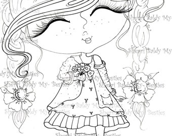 INSTANT DOWMLOAD Digital Digi Stamps Big Eye Big Head Dolls Digi Stamp  img074  By Sherri Baldy