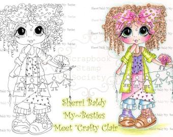 INSTANT DOWNLOAD Digital Digi Stamps Big Eye Big Head Dolls Digi  IMG884 By Sherri Baldy