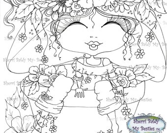 INSTANT DOWNLOAD Digital Digi Stamps Big Eye Big Head Dolls img179 Fancy Pants Bloomin Bestie By Sherri Baldy
