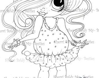 INSTANT DOWMLOAD Digital Digi Stamps Big Eye Big Head Dolls Digi Img058  New Fluffy Besties Tm  By Sherri Baldy