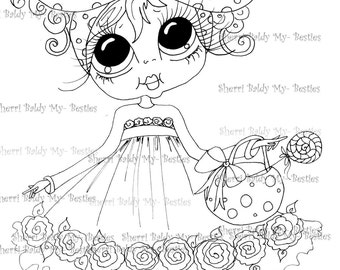 INSTANT DOWNLOAD Digital Digi Stamps Big Eye Big Head Dolls My Besties LolliePop Bestie By Sherri Baldy