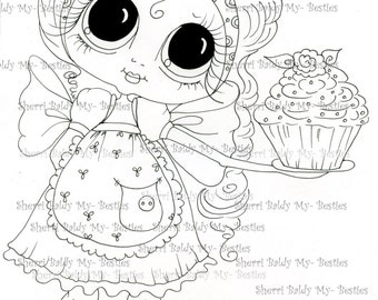 INSTANT DOWNLOAD Digital Digi Stamps Big Eye Big Head Dolls Img095 Bestie By Sherri Baldy