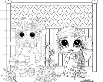 INSTANT DOWNLOAD Digi Stamps Big Eye Großkopf Dolls Digi Bestie sitzen Friends von Sherri Baldy
