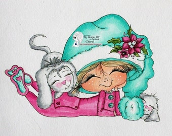 INSTANT DOWNLOAD Digital Digi Stamps Big Eye Big Head Dolls Digi  Img913 Christmas By Sherri Baldy
