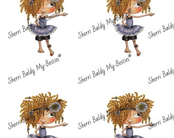 Instant Download Curley Haired Dancer 2 color printable Card Toppers  kit Besties Big Head Dolls Digi By Sherri Baldy