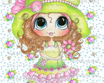 INSTANT DOWNLOAD Digital Digi Card Toppers Pink Flowers Besties Big Head Dolls Digi By Sherri Baldy