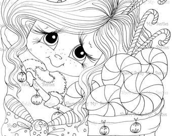 INSTANT DOWNLOAD Digital Digi Stamps Big Eye Big Head Dolls Digi  Santas Bag of Joy By Sherri Baldy