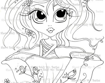 INSTANT DOWMLOAD Digital Digi Stamps Big Eye Big Head Dolls Digi img552  By Sherri Baldy