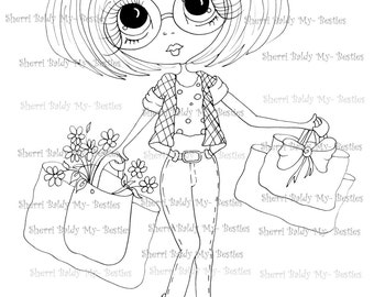 INSTANT DOWNLOAD Digital Digi Stamps Big Eye Big Head Dolls Digi IMG229  My Bestie B-Tween Besties By Sherri Baldy