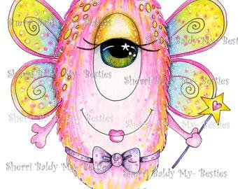 INSTANT DOWNLOAD Digital Digi Stamps Big Eye Big Head Dolls Bestie Scan 0020 My Besties Monsters Ever Mini Monster TM By Sherri Baldy