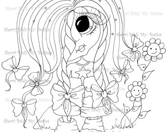 INSTANT DOWNLOAD Digital Digi Stamps Big Eye Big Head Dolls Messy Bessy IMG854 My Besties By Sherri Baldy