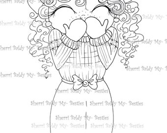 INSTANT DOWNLOAD Digi Stamps Big Eye Big Head Dolls Digi Bestie Winter Bashful  Bestie By Sherri Baldy