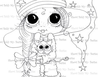 INSTANT DOWNLOAD Digital Digi Stamps Big Eye Big Head Dolls My Bestie  Img354 By Sherri Baldy
