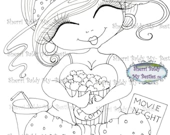 INSTANT DOWMLOAD Digital Digi Stamps Big Eye Big Head Dolls New Fluffy Besties Tm Digi Img024 You Me and A Movie  By Sherri Baldy