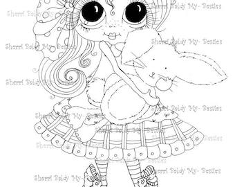 INSTANT DOWNLOAD Digital Digi Stamps Big Eye Big Head Dolls Digi  My - Besties  Bunny Girl By Sherri Baldy