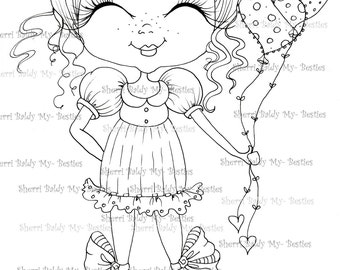 INSTANT DOWMLOAD Digital Digi Stamps Big Eye Big Head Dolls Digi img524  By Sherri Baldy