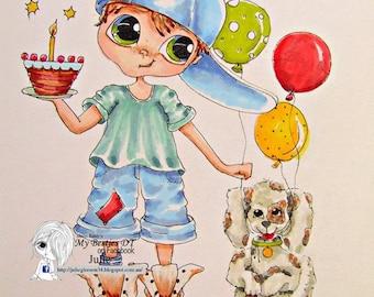 INSTANT DOWNLOAD digitale Digi Stamps Big Eye Big Head poppen img604 LaMouse April Bestie door Sherri Baldy