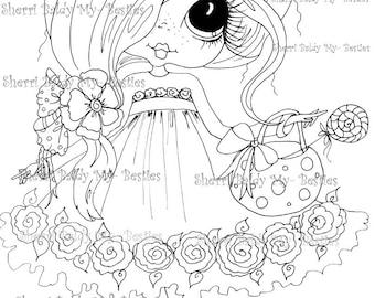 INSTANT DOWNLOAD Digital Digi Stamps Big Eye Big Head Dolls Digi  My - Besties  IMG102  By Sherri Baldy