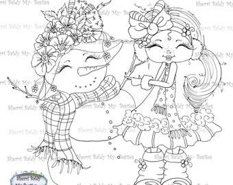 INSTANT DOWNLOAD Digital Digi Stamps Big Eye Big Head Dolls Digi  Snow Girl Pretty Winter By Sherri Baldy