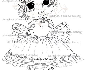 INSTANT DOWNLOAD Digital Digi Stamps Big Eye Big Head Dolls Digi  Cutie Carley By Sherri Baldy