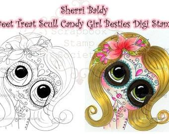 INSTANT DOWNLOAD Digital Digi Stamps Big Eye Big Head Dolls Digi   Besties Sweet Treat Candy Girl 2  By Sherri Baldy
