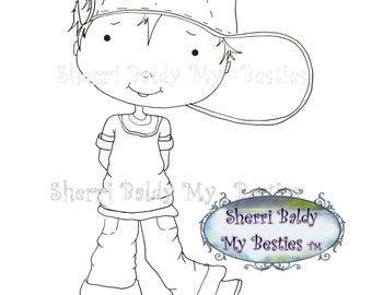 INSTANT DOWNLOAD Digital Digi Stamps Big Eye Big Head Dolls My Besties Pals My Little DimplesBoy 1 By Sherri Baldy