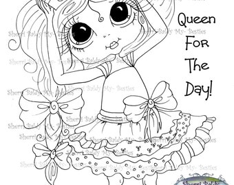 INSTANT DOWNLOAD Digital Digi Stamps Big Eye Big Head Dolls Messy Bessy My Besties Digi Queen For A Day Img087 By Sherri Baldy