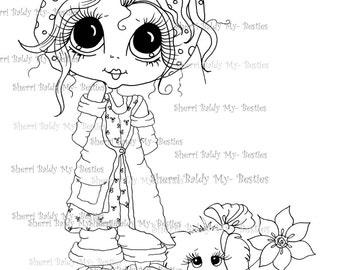 INSTANT DOWMLOAD Digital Digi Stamps Big Eye Big Head Dolls Digi  My Besties Sweetie Pie And Her Dog By Sherri Baldy