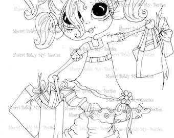 INSTANT DOWNLOAD Digital Digi Stamps Big Eye Big Head Dolls  IMG162 By Sherri Baldy