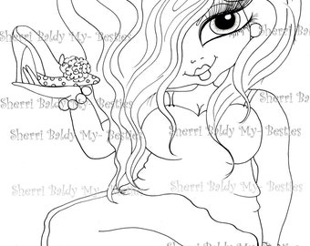INSTANT DOWMLOAD Digital Digi Stamps Big Eye Big Head Dolls Digi New Fluffy Beautiful Besties Tm  img044 By Sherri Baldy