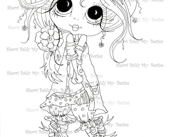 INSTANT DOWNLOAD Digital Digi Stamps Big Eye Big Head Dolls Digi Img303 Besties By Sherri Baldy
