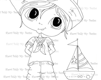 INSTANT DOWNLOAD Digital Digi Stamps Big Eye Big Head Dolls My Besties Digi Bestie Sailor Boy By Sherri Baldy
