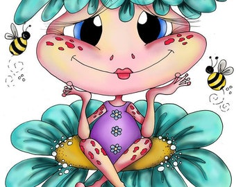 INSTANT DOWNLOAD Digital Digi Stamps Big Eye Big Head Dolls NEW My Besties Pink les Frog img577 Fairy Bestie By Sherri Baldy