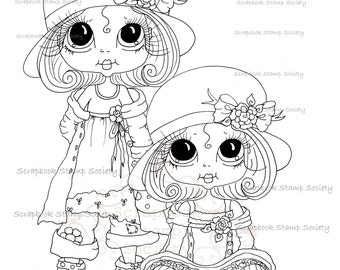 INSTANT DOWNLOAD Digital Digi Stamps Big Eyed Derby Hat darlins Besties Big Head Dolls Digi By Sherri Baldy