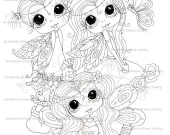 INSTANT DOWNLOAD Digital Digi Stamps Big Eye Big Head Dolls Digi  My Besties Wee WInged Besties Of Hope  By Sherri Baldy