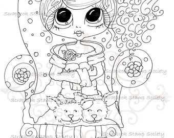 INSTANT DOWNLOAD Digi Stamps Big Eye Big Head Dolls Digi IMG776 By Sherri Baldy