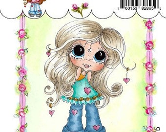 My-Besties Clear Rubber Stamp Big Eye Besties Big Head Dolls Blue Jean Baby  MYB-0175  By Sherri Baldy