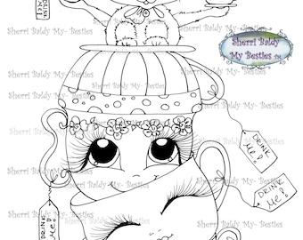 INSTANT DOWNLOAD digitale Digi Stamps Big Eye Big hoofd poppen Img176 Alice In het kijkglas Bestie door Sherri Baldy