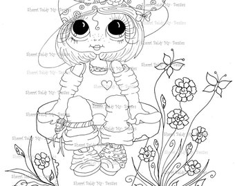 INSTANT DOWNLOAD Digi Stamps Big Eye Big Head Dolls Digi Bestie Setting Pretty Bestie By Sherri Baldy