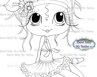 INSTANT DOWMLOAD Digital Digi Stamps Big Eye Big Head Dolls Digi img551  By Sherri Baldy
