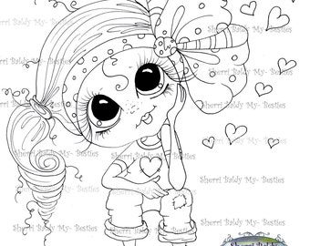 INSTANT DOWNLOAD Digital Digi Stamps Big Eye Big Head Dolls Digi Img492 By Sherri Baldy
