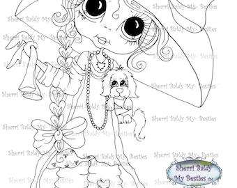 INSTANT DOWNLOAD Digital Digi Stamps Big Eye Big Head Dolls  IMG176 By Sherri Baldy