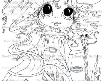 INSTANT DOWNLOAD Digital Digi Stamps Big Eye Big Head Dolls Digi  My - Besties  IMG043 With Kitty By Sherri Baldy