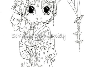INSTANT DOWNLOAD Digital Digi Stamps Big Eye Big Head Dolls Digi IMG560 By Sherri Baldy