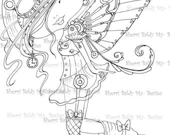 INSTANT DOWMLOAD Digital Digi Stamps Big Eye Big Head Dolls Digi Img103  New My Besties Tm STEAMPUNK Fairy By Sherri Baldy