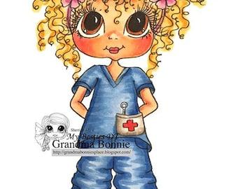 INSTANT DOWMLOAD Digital Digi Stamps Big Eye Big Head Dolls Digi Nurse Bonnie By Sherri Baldy
