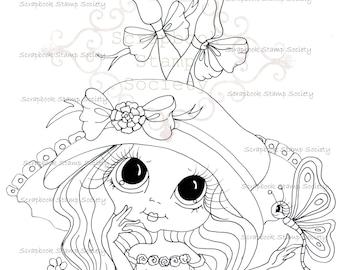 INSTANT DOWNLOAD Digital Digi Stamps Big Eye Big Head Dolls Digi IMG781 Butterfly Betsy By Sherri Baldy