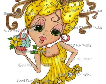 INSTANT DOWMLOAD Digital Digi Stamps Big Eye Big Head Dolls Digi Crafty Chicks Img557 By Sherri Baldy