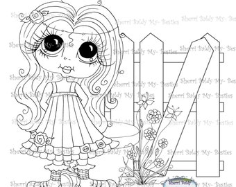 INSTANT DOWNLOAD Digital Digi Stamps Big Eye Big Head Dolls Flower Pot Garden Bestie By Sherri Baldy